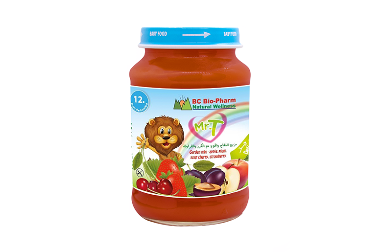 BABY FOOD GARDEN FRUIT MIX – APPLE, SOUR CHERRIES, STRAWBERRIES AND PLUMS